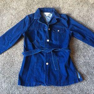 Vintage Denim Tie Around Short Trench Coat Size 4